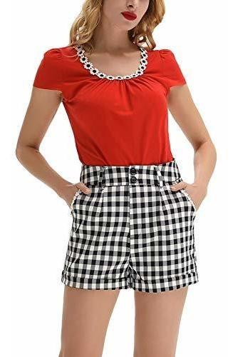 para dama pantalone corto cintura cinturon bolsillo