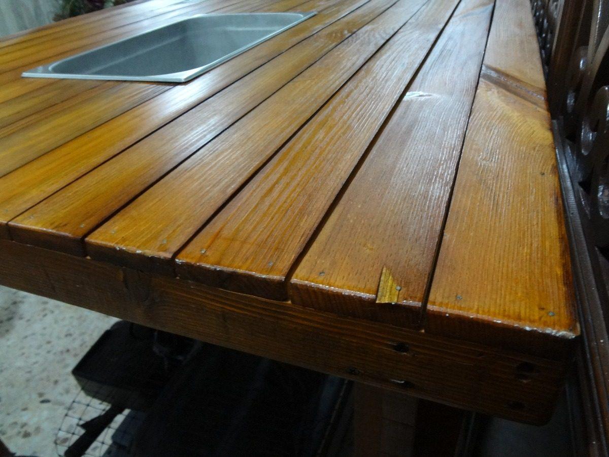 Mesa de madera con hielera para exterior 1 en mercado libre - Mesas de exterior de madera ...
