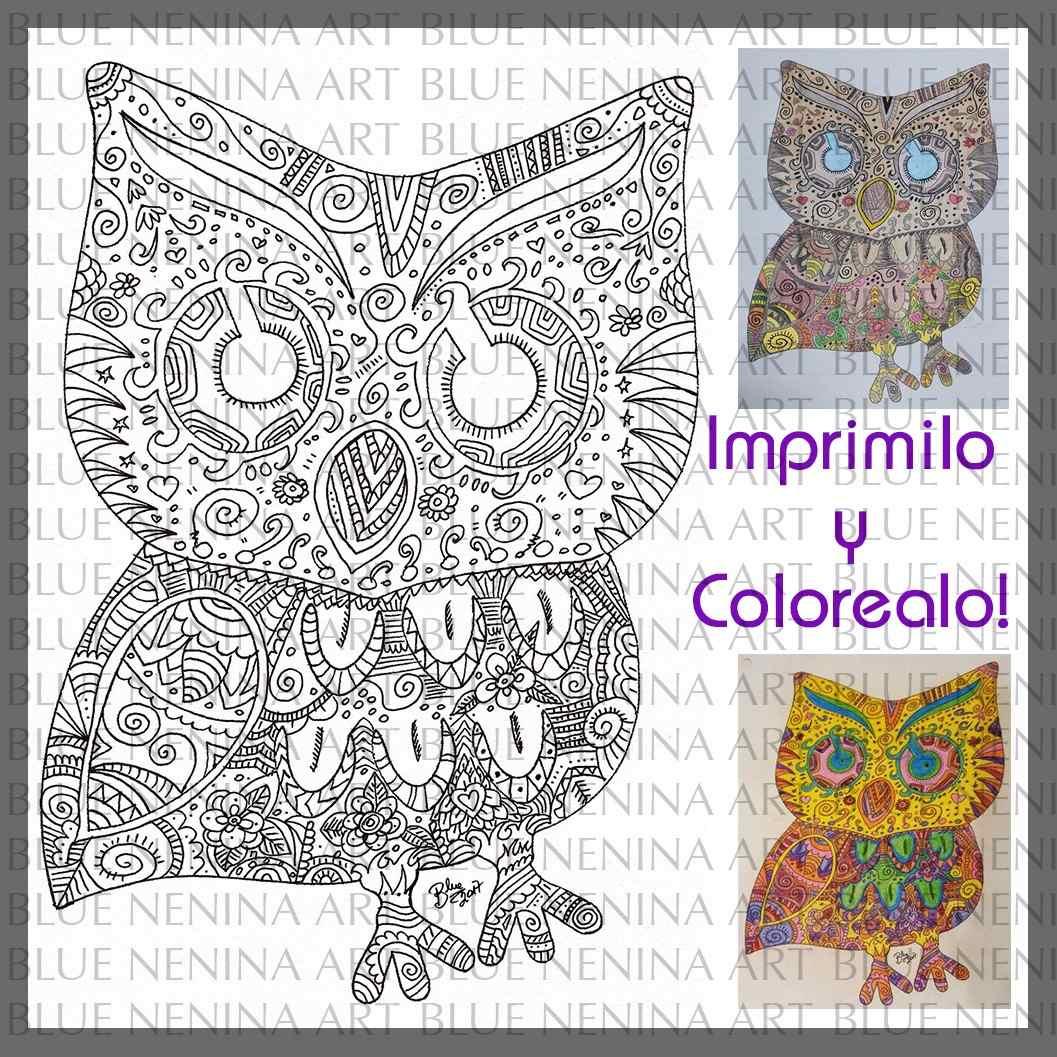 Para Imprimir Y Colorear Animales Dibujo Zen Buho Aves - $ 10,00 en ...