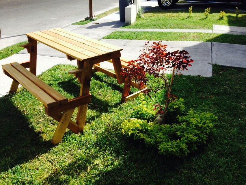 Mesa banca plegable para jardin 2 en 1 3 en for Mesas plegables para jardin