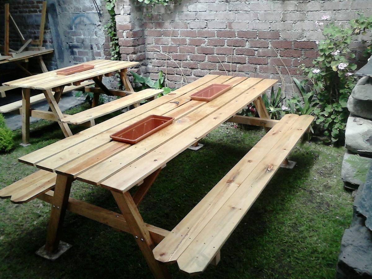 Mesas para jardin o garage 2 en mercado libre for Mesas de madera para jardin