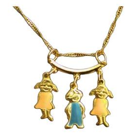 Para Mamá Tres Niñas O Niños C/percha, Madre Dije Hijos, Oro