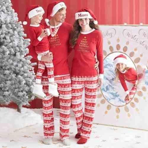 Para Navidad Familia Juego Carta Impresion Algodon Padre Bs 6 478