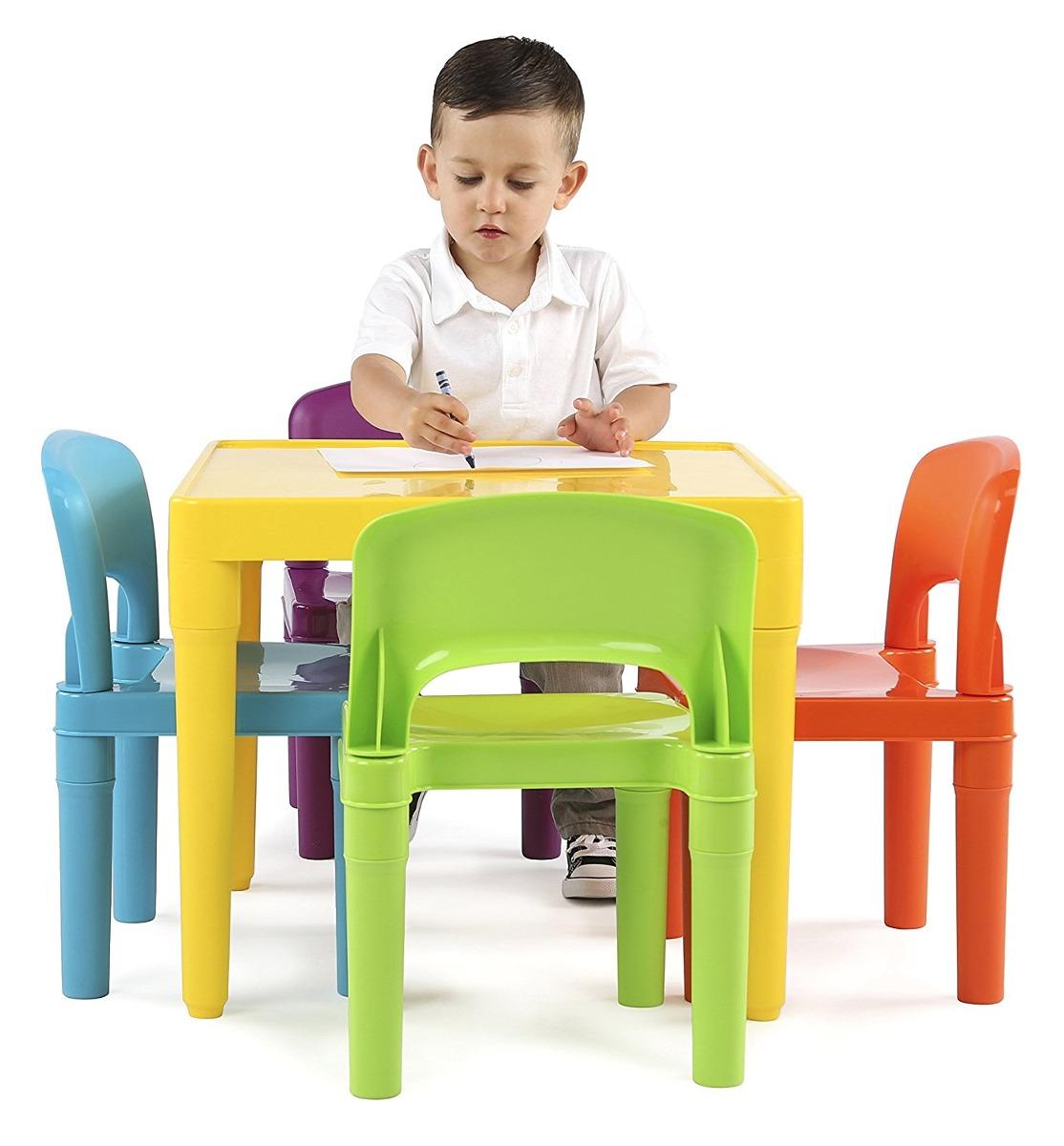 Para Niños Mesa Plástico 4 Sillas Set Colores Vibrantes - $ 1,981.00 ...