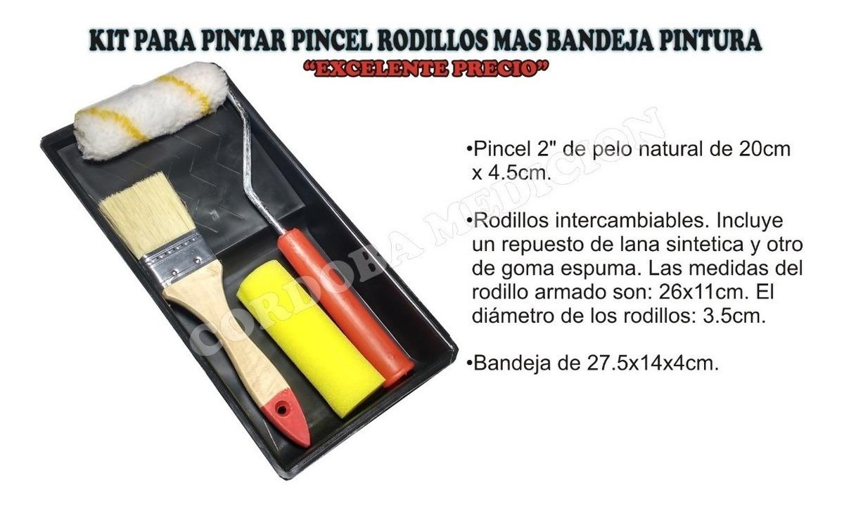 Kit Para Pintar Pincel Rodillos Mas Bandeja Pintura
