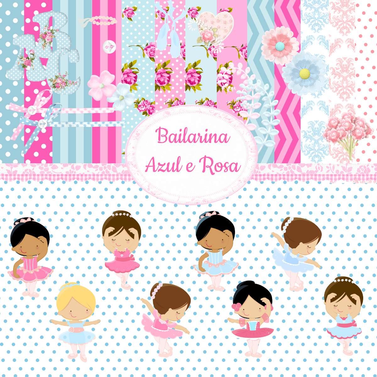 eca66b03db1 Kit Para Scrapbook Digital Bailarina Azul E Rosa - R  10