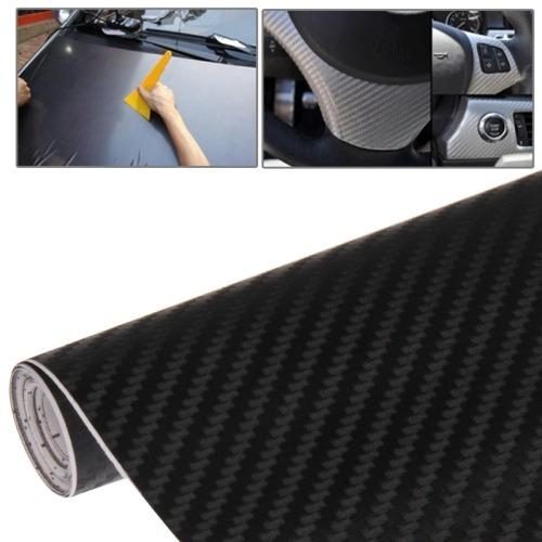 para vehiculo auto film car decorative 3d fiber pvc negro