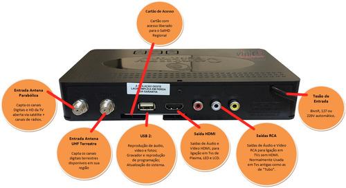 parabólica digital hd completa com receptor century midiabox