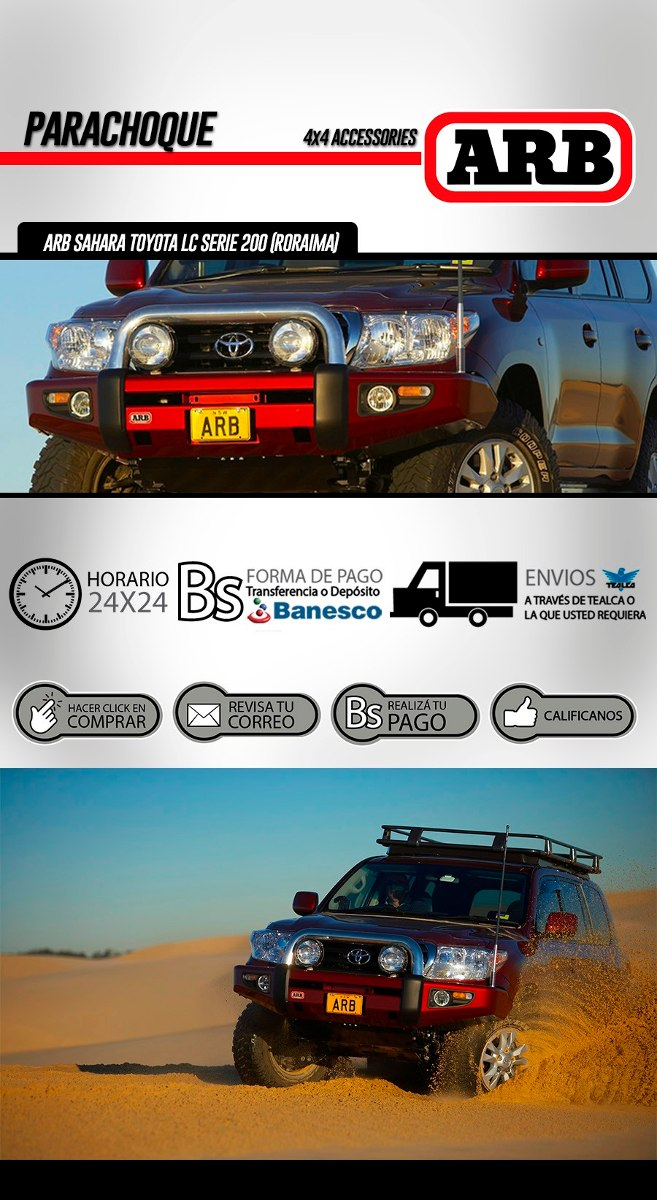 Parachoques Arb Sahara Para Toyota Land Cruiser 200 Roraima Bs 9 Cargando Zoom