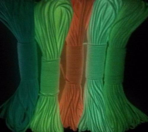 paracord luminoso que brilla en la oscuridad 5 metros