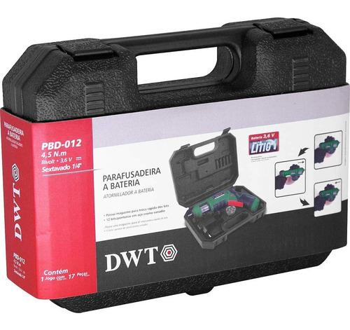 parafusadeira bateria kit 12 bits maleta dwt bivolt - pbd012