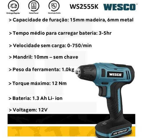 parafusadeira e furadeira 3/8 12v com kit ws2550k