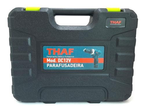 parafusadeira furadeira 12v + 1 bits + bateria + maleta thaf