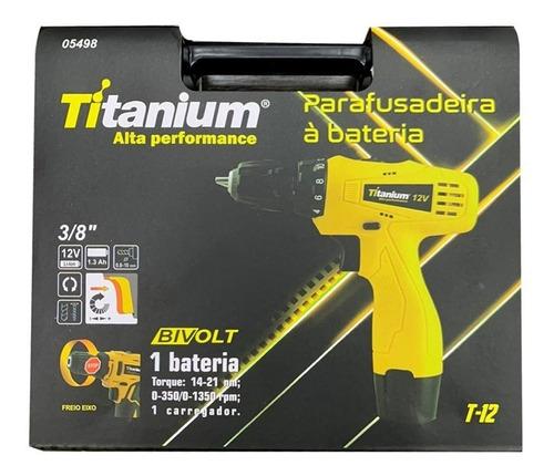 parafusadeira furadeira 12v 3/8 litio biv 5498 titanium +kit