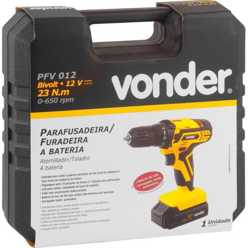 parafusadeira furadeira bateria 12v bivolt pfv 012 vonder
