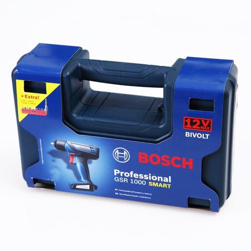 parafusadeira furadeira gsr1000li smart bosch + kit 5 brocas