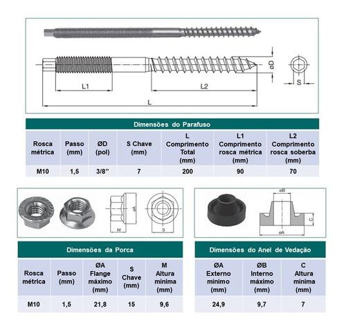 parafuso m10x200mm - conector da estrutura da placa solar em telha de fibrocimento - 6 peças