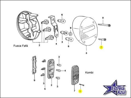 parafuso pequeno lanterna fusca fafa e kombi - original vw