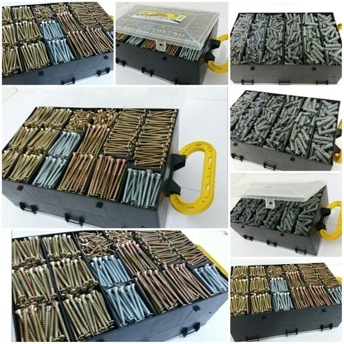parafusos e buchas 3000 peças c/ maleta chipboard p/ madeira