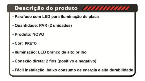 parafusos led luz placa z750 er6n cbr xj6 hornet bandit gsxf