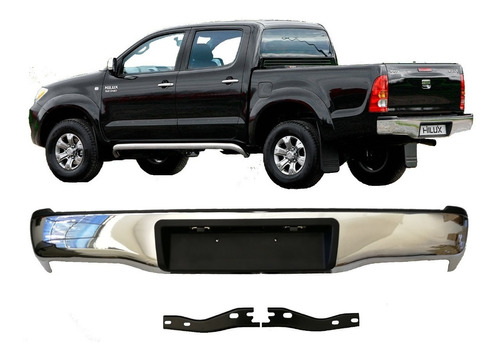 paragolpe trasero p/ toyota hilux 2005 2006 2007 2008 2009 2010 2011 2012 2013 14 2015 tailandes cromado
