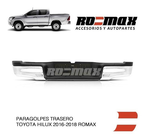 paragolpes trasero toyota hilux 2016 a 2018 warnes ro-max