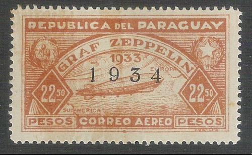paraguai 22.50 pesos zeppelin 1934 novo com goma.yv. a67d