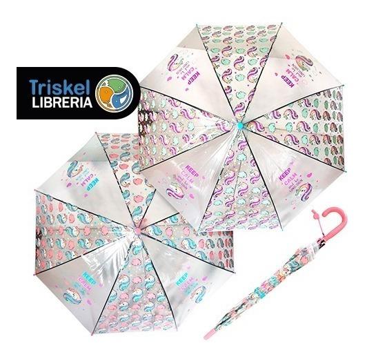 personalizadas modelado duradero nuevo baratas Paraguas Infantil Automatico Transparente Unicornio