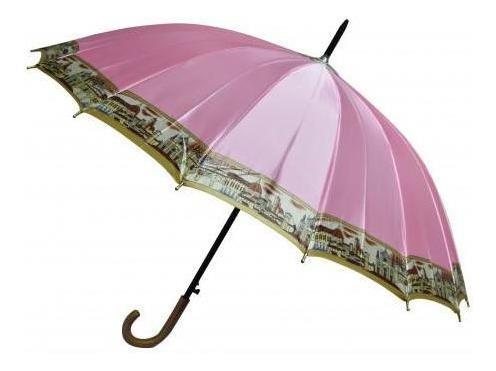 paraguas largo 60cm 16 varillas dama reforzado c brillo