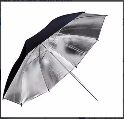 paraguas plateado 110 cm de diametro para fotografía estudio