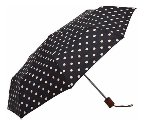 paraguas pocket corto manual con puño de madera negro lunar