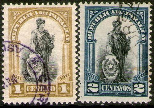 paraguay 2 sellos usados 100° aniv. independencia año 1911