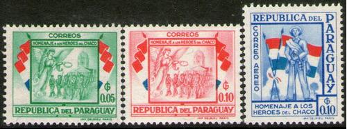 paraguay 3 sellos mint héroes del chaco = ejército año 1957