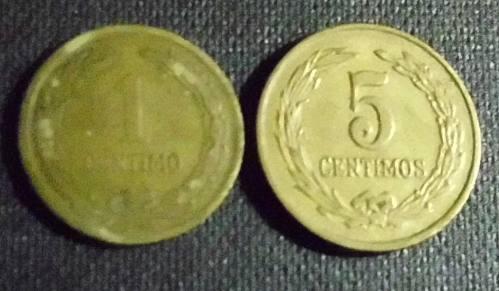 paraguay:lote de dos monedas-años 1944/47