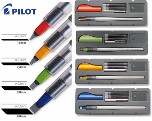 parallel pen pilot  caligrafica x 4 + cart. negro + surtidos