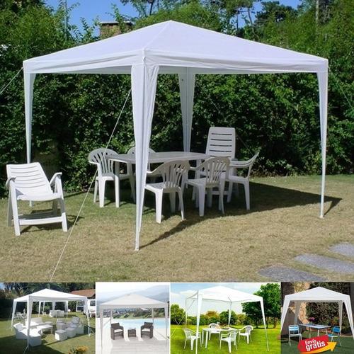 parasol blanco toldo carpa 3x3 negocio tienda terraza asados