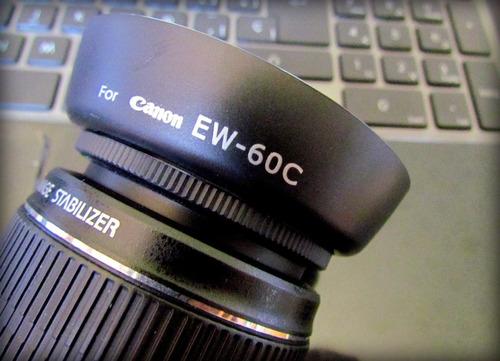 parasol ew-60c + filtro uv 58mm para lentes canon efs t3/t3i