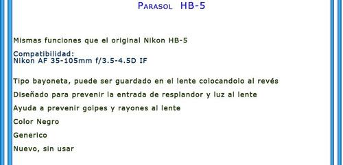 parasol hb-5 para lente nikon 35-105mm f/3.5-4.5d if generic