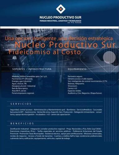 parcela de 2000m2. sector industrial. nucleo productivo del sur, multiples beneficios!!!