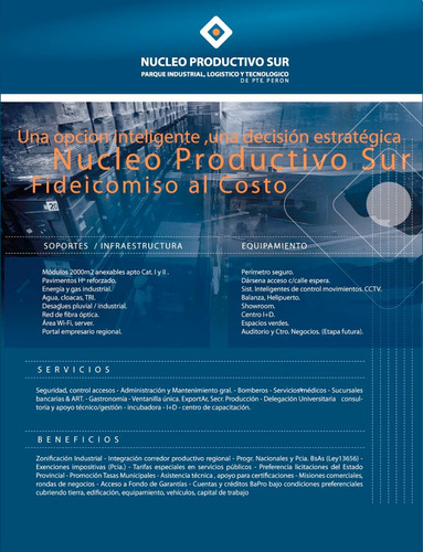 parcelas de 2000 a 4000m2. sector industrial. nucleo product