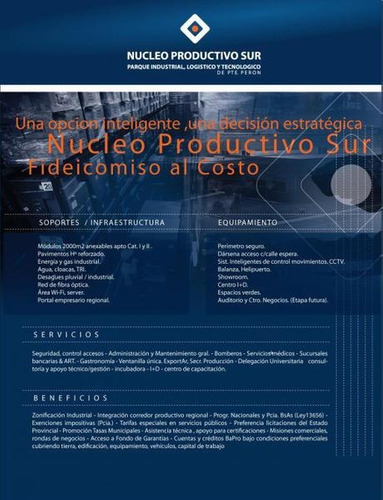 parcelas de 2000 a 4000m2. sector industrial. nucleo productivo del sur, multiples beneficios!!!