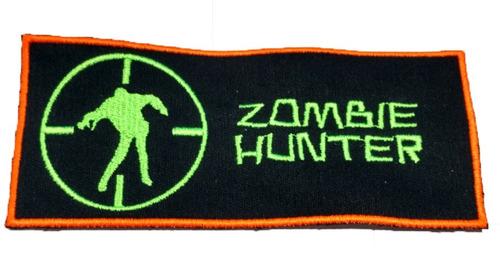 parche bordado zombie hunter invasion para coser 16x7 cm