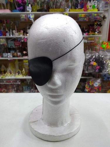 parche ojo pirata negro liso cotillon disfraz eco cuero
