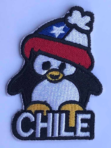 parche pingüino con gorro bordado mas chileno hecho en chile