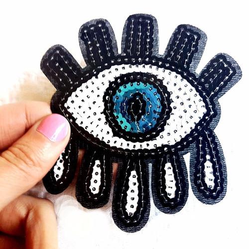 parches bordados decora tu ropa bam, ojos chicos, evil eye