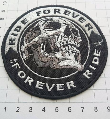 parches bordados, motos, motociclistas, ride forever, skull