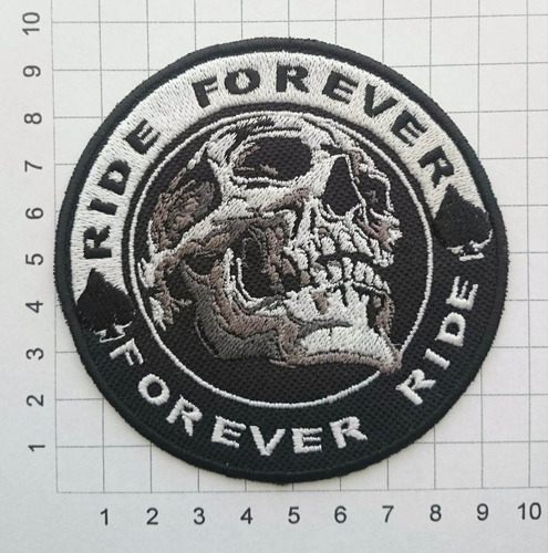 parches bordados, motos, motociclistas, ride forever, skull