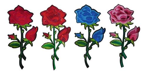 parches florales apliques rosas bordadas para ropa flores