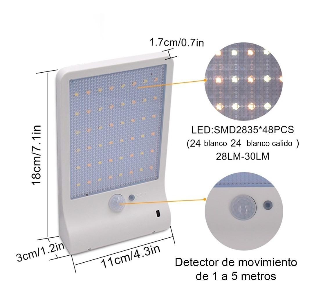 Solar Leds Lámpara Jardin Noche 48 Exterior Pared C Control E29IYWDH