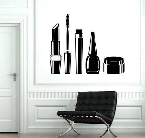 pared vinilo calcomanía pelo salón belleza cosméticos rimel